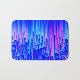Neon Rain - A Digital Abstract Bath Mat