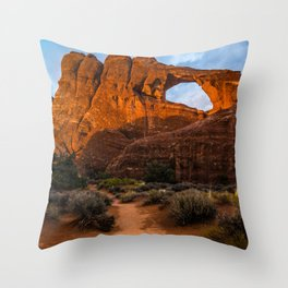 Path To Skyline Arch At Sunset - Moab, Utah Throw Pillow