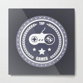 Top Gamer Monochromatic Badge Metal Print