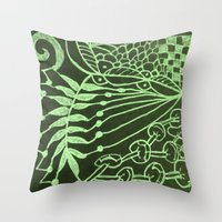 zentangle Throw Pillows featuring Zentangle by AM Prono