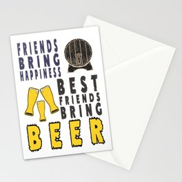 best bring happness - I love beer Stationery Cards