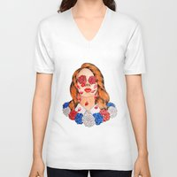 lana V-neck T-shirts featuring LANA  by Aidan Reece Cawrey