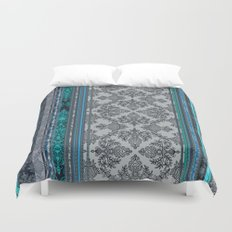Teal, Aqua & Grey Vintage Bohemian Wallpaper Stripes Duvet Cover