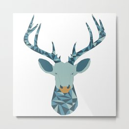 Geometric stag head Metal Print