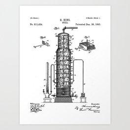 Whisky Patent - Whisky Still Art - Black And White Art Print