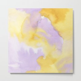 Lilac lavender sunflower yellow abstract watercolor Metal Print