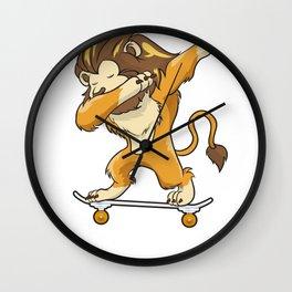 Skateboarding Lion on Skateboard Gift for Skater  Wall Clock