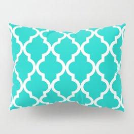 Aqua Moroccan Quatrefoil Pattern Pillow Sham