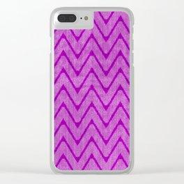 Vivid Purple Mauve Chevron Pattern Clear iPhone Case