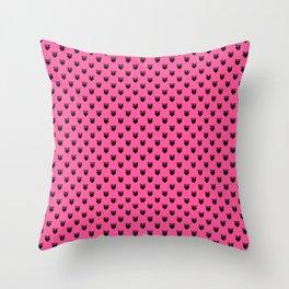 Strawberry Pink Love Birds & Hearts Throw Pillow