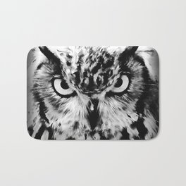 owl look digital painting reacbw Bath Mat