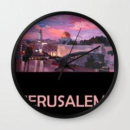 Retro Travel Poster Jerusalem Wall Clock