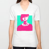 contemporary V-neck T-shirts featuring Contemporary Collar by Ben Geiger