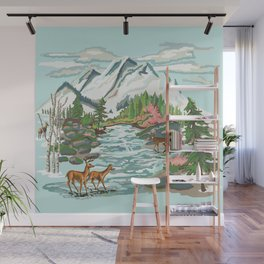 Paint by Number Mountain Medow Wall Mural