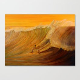 Golden Light of Waimea Surfers Canvas Print