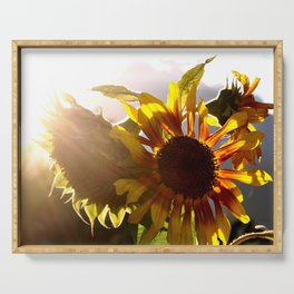 salute to the Sun as a sunflower Serving Tray