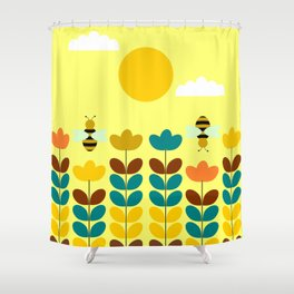 Flowers with bees Shower Curtain