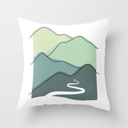 Foggy hills (shades of green) Throw Pillow