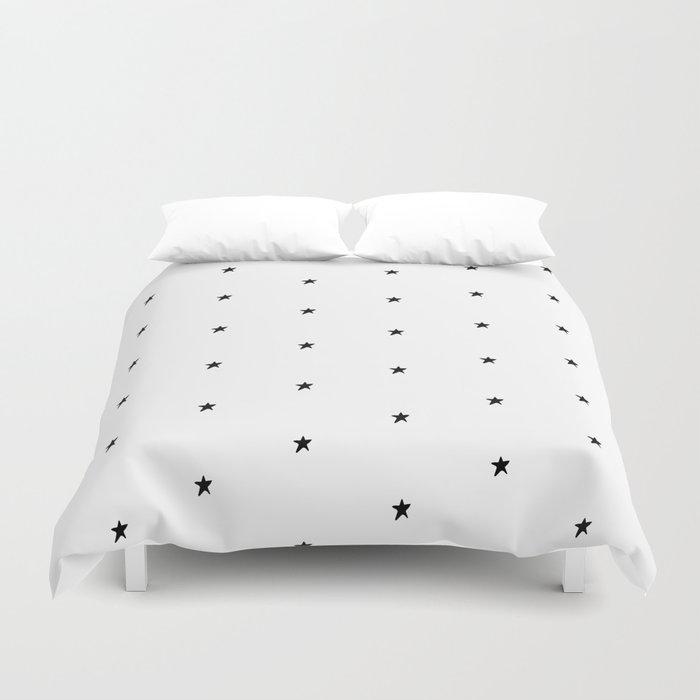 Black and white stars Duvet Cover