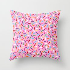 Pink Donut with Sprinkles Throw Pillow