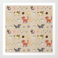 Dogs & Donuts Art Print