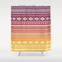 navajo Shower Curtains featuring Ombré Navajo by Mark Baker-Sanchez