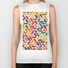 Seamless Colorful Geometric Pattern XII Biker Tank