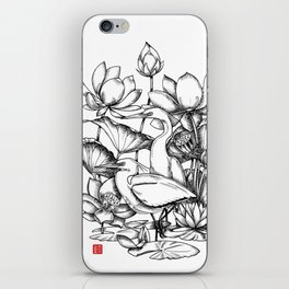 Chinese egret with lotus flowers iPhone Skin