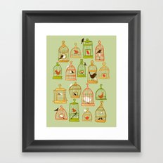 Bird Cages on Green Framed Art Print