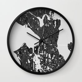 Seattle – Abstract Map Wall Clock