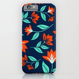 Japanese Floral Print - Red and Navy Blue iPhone Case