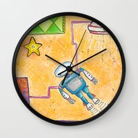 lab Wall Clocks featuring Robot Lab by Cheryl Chiappetta Murray