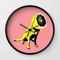 lemon Wall Clocks featuring lemon by Ali GULEC
