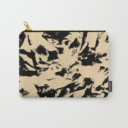 Beige Yellow Black Abstract Military Camouflage Carry-All Pouch