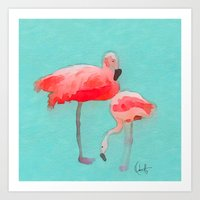 flamingos Art Prints featuring Flamingos  by Xchange Art Studio