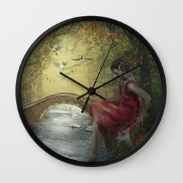 Beauty on the forest stream Wall Clock
