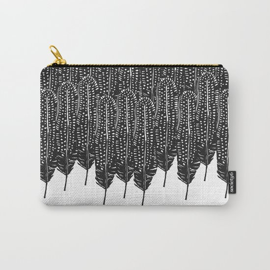 Black & White Feather Wilderness Carry-All Pouch