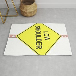 """""""Low shoulder"""" - 3d illustration of yellow roadsign isolated on white background Rug"""