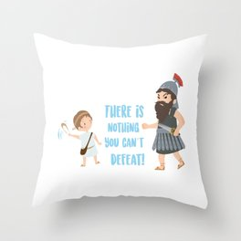 Bible character. David vs Goliath Throw Pillow