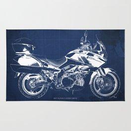 20-2012 Suzuki V-Strom 1000 SE, blueprint motorcycle, man cave decoration Rug