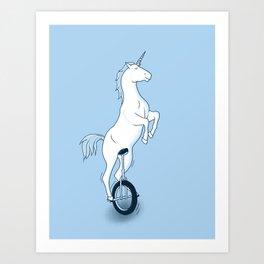 Unicorn on a unicycle - blue Art Print