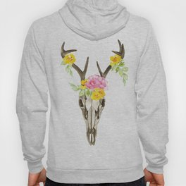 Bohemian deer skull and antlers with flowers Hoody