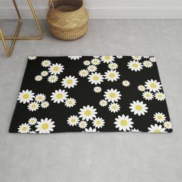 Cute black daisy print - floral print Rug