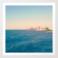 cleveland Art Prints featuring Cleveland Skyline  by Julia Blanchette