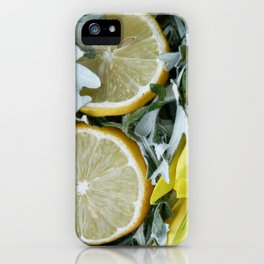 Yellow installation with lemon iPhone Case