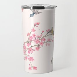 Birds and cherry blossoms Travel Mug