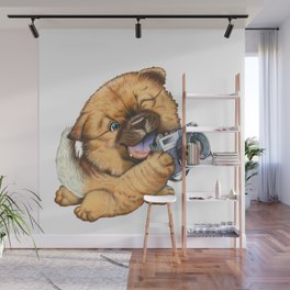A little dog holding a camera Wall Mural