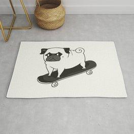 Skateboarding Pug Rug