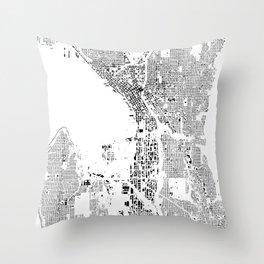 Seattle Map Schwarzplan Only Buildings Throw Pillow