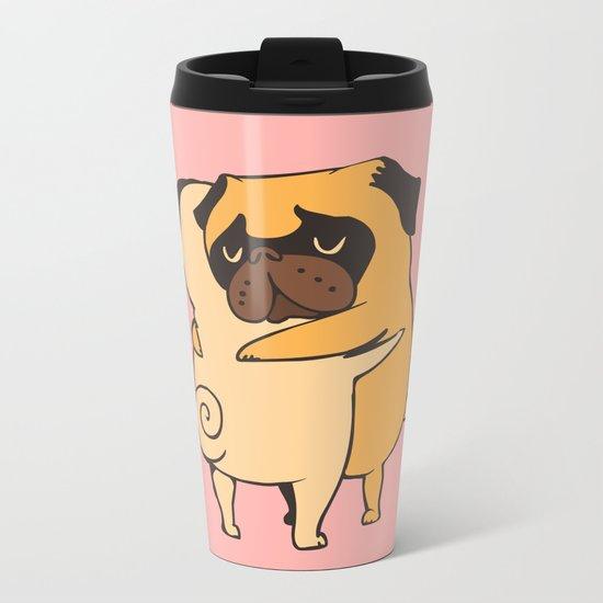 Pug Hugs Metal Travel Mug